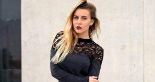 contratar a Yasmila Mendeguia, rubia, linda, vestido negro